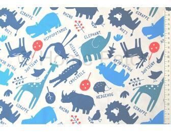 Tissu pour enfant animaux d'Afrique fond écru
