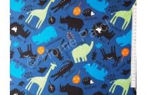 Tissu pour enfant animaux d'Afrique fond bleu vif