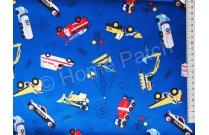 Tissu pour enfant engins et camions fond bleu vif