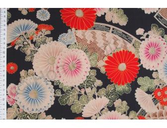 Tissu patchwork japonais Kokka chrysanthèmes fond noir