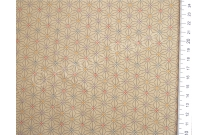 Tissu patchwork japonais motif asanoha fond beige kaki