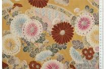 Tissu patchwork japonais Kokka chrysanthèmes fond ocre jaune