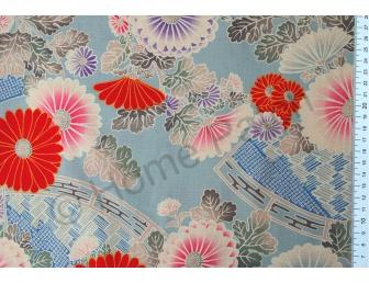 Tissu patchwork japonais Kokka chrysanthèmes rouges fond vert de gris