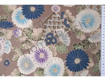 Tissu patchwork japonais Kokka chrysanthèmes bleus fond beige